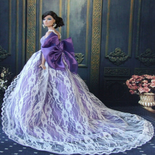 Handmade Purple Royalty Doll Princess Dress For  Doll Clothes Party Gow Fp