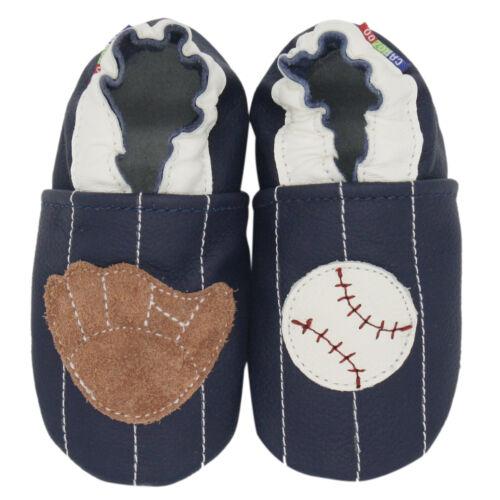 carozoo baseball blue 6-12m soft sole leather baby shoes