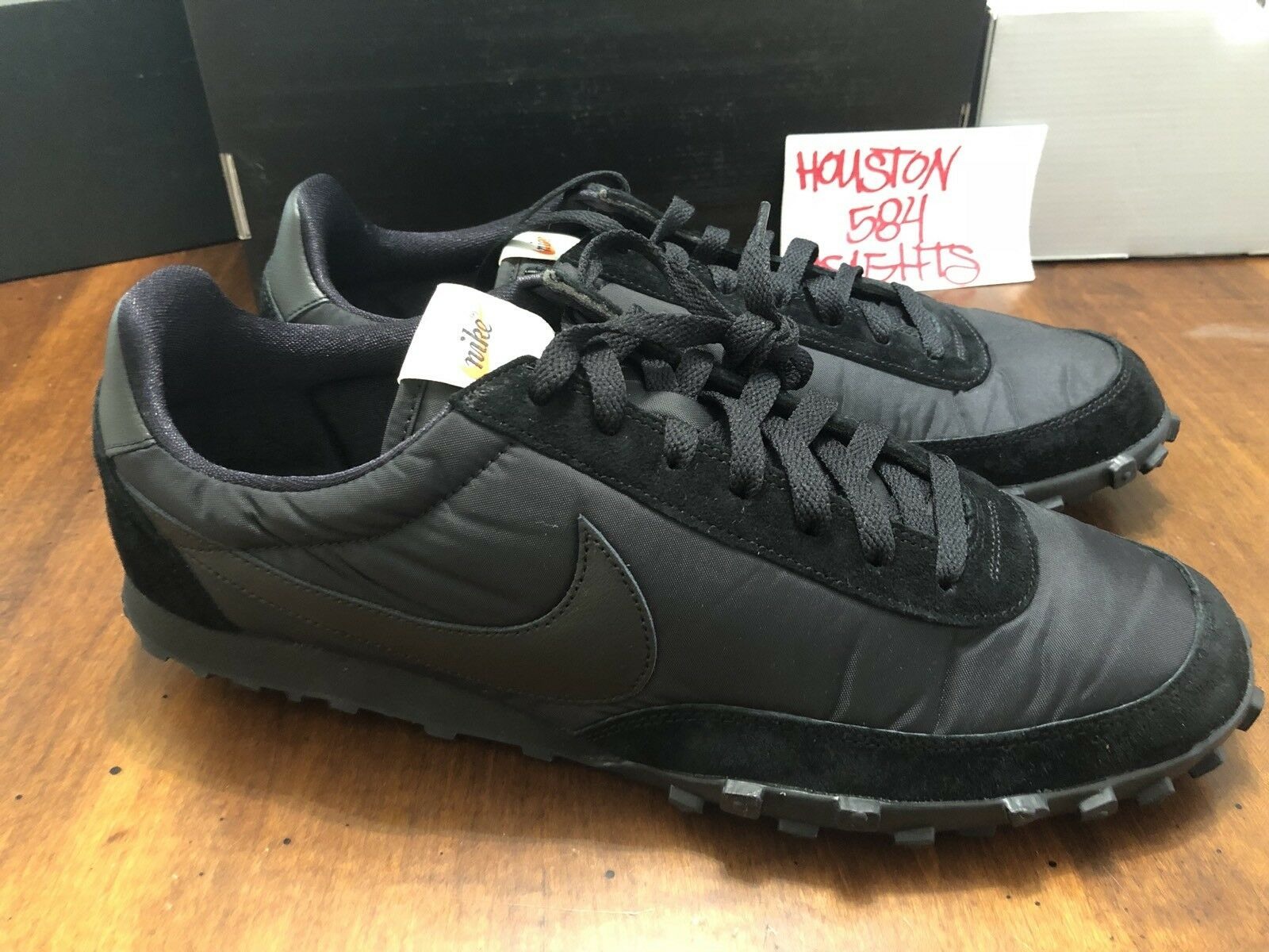 Nike X Comme Des Garcons CDG Waffle Racer 17 Mens Size 13 Black Shoes AA9709 001