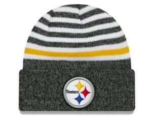 2b4d17557 Details about Pittsburgh Steelers New Era NFL Striped Cuff MB Knit hat NWT