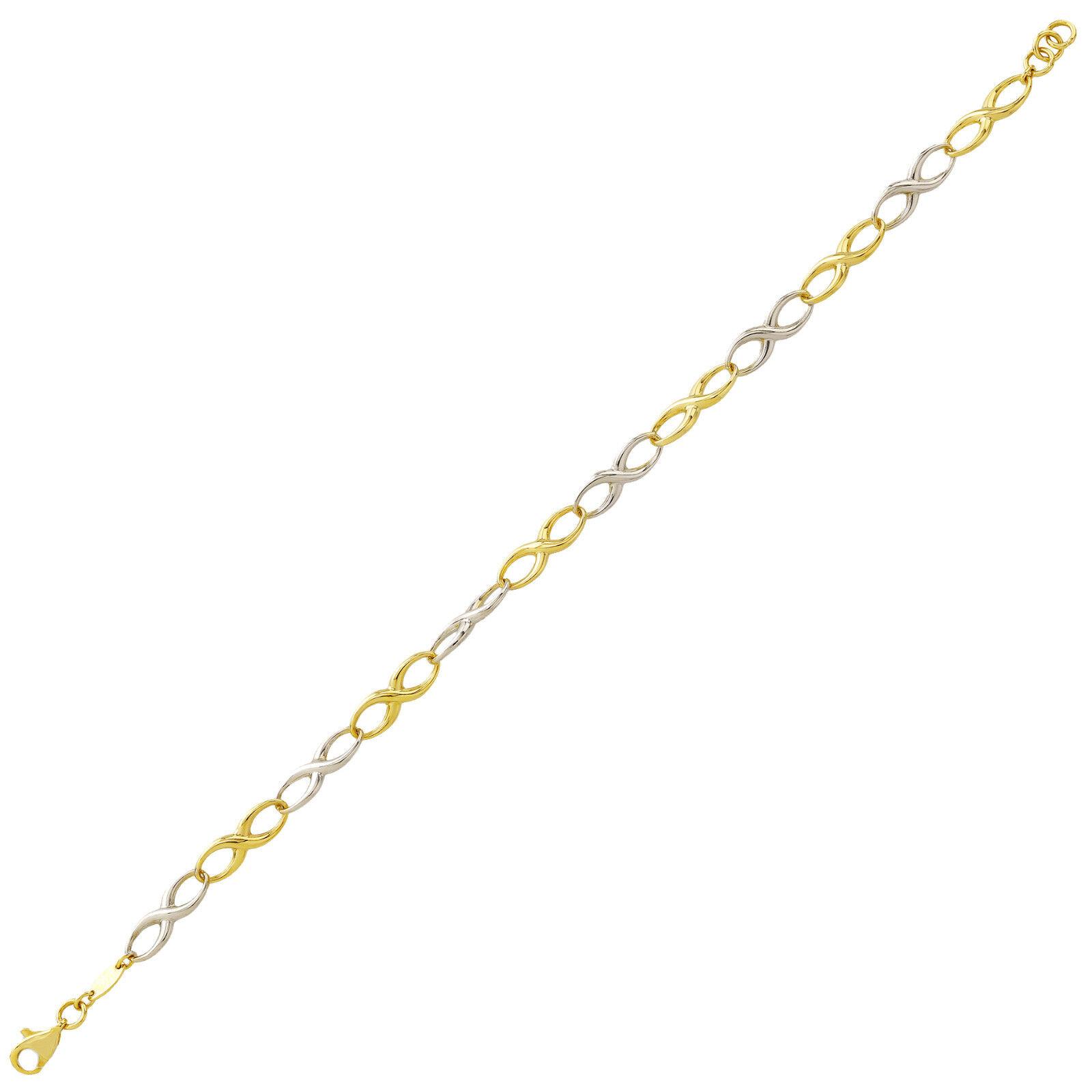 Braccialetto oro Design Bracciale Giallo & Bianco Bracciale oro oro oro 14 carati gioielli 19cm 2673 dc87cd