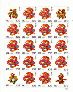 Guyana 2013 MNH Year of Snake 20v M/S Chinese Lunar New Year Zodiac Stamps