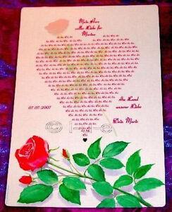 Rosenpapier Urkunde Herz Auf Rose Geschenk Schwester Tante