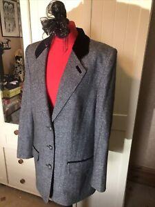 LUCIA-Ladies-Grey-Herringbone-Wool-Silk-Blend-Tailored-Blazer-Jacket-Size-16
