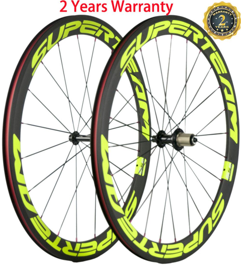 23mm Width Clincher Road Bike Wheelset 50mm Depth Bicycle Wheels 700C 3K UD Race