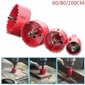 60-100mm Hole Saw Holesaw M42 Metal Cut Arbor Pilot Drill Bit Wood Plastic w//Rod