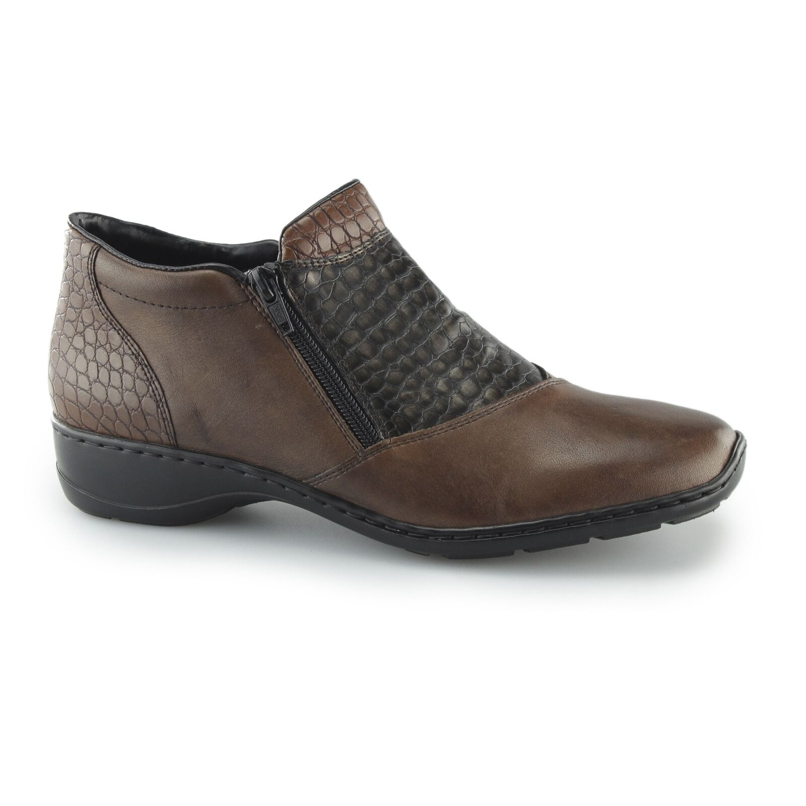 Rieker 58359-25 Ladies Womens Leather Dual Zip Up Warm Lined Ankle Boots Brown