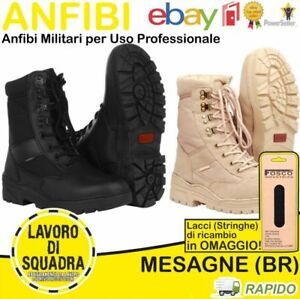 Anfibi-Stivali-Militari-Neri-Tan-Anfibio-Militare-Pelle-Suola-Militaria-Fostex