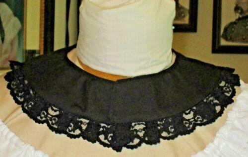 CIVIL WAR DRESS VICTORIAN ACCESSORIES LADY/'S 100/% COTTON JETT BLACK COLLAR