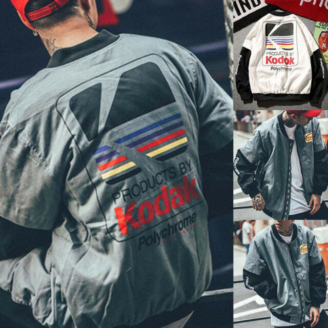 Men's Retro Kodak Bomber Jacket Street Printing Japanese Hip Hop Style New