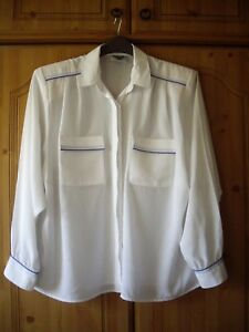 c48c727a57c0a LADIES WHITE SILKY BLOUSE with BLUE TRIM by JACQUES VERT - UK SIZE ...