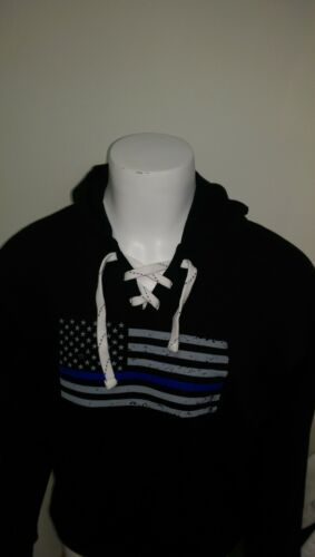 JAmerica sweat shirt Thin Blue Flag law enforcement police hooded laced hoodie