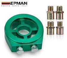 Oil Filter GREEN Adapter *Sandwich Plate Mount Gauge Pressure Temp Sensor 1/8NPT