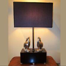 Art Deco Figural Gazelle Table Lamp Black and Chrome Antelope Animal Light 1920'