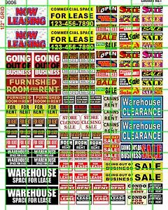 Details about 9006 DAVE'S DECALS HO BUSINESS FOR LEASE CLEARANCE STORE  WAREHOUSE RENT SIGN