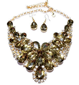 Topaz-Rhinestone-Statement-Necklace-Earrings-Bridal-Wedding-Jewerly-Prom-Pageant