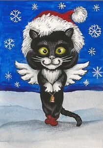 5x7 XMAS PRINT OF PAINTING ART RYTA BLACK TUXEDO CAT WINTER LANDSCAPE SANTA