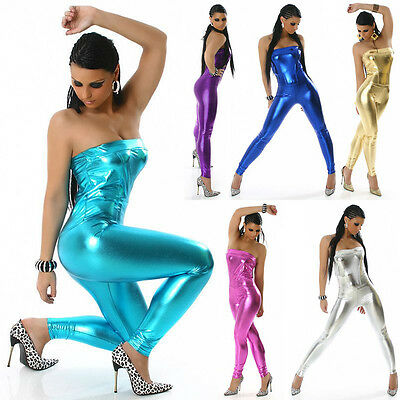Overalls Trousers Wetlook leather Look shiny Onesie Catsuit Bustier Jumpsuit New
