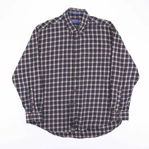 Vintage-PENDLETON-Blue-Check-Flannel-Wool-Mix-Casual-Shirt-Size-Men-039-s-XL