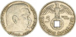 3. Rich 5 Mark Hindenburg 1939 J Xf-Bu , Attractive Tint 48780
