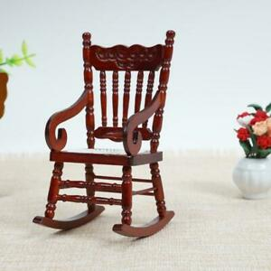 Doll-House-Miniature-Furniture-Classic-coffee-Wooden-Rocking-Scale-Chair-UK-Y1I7