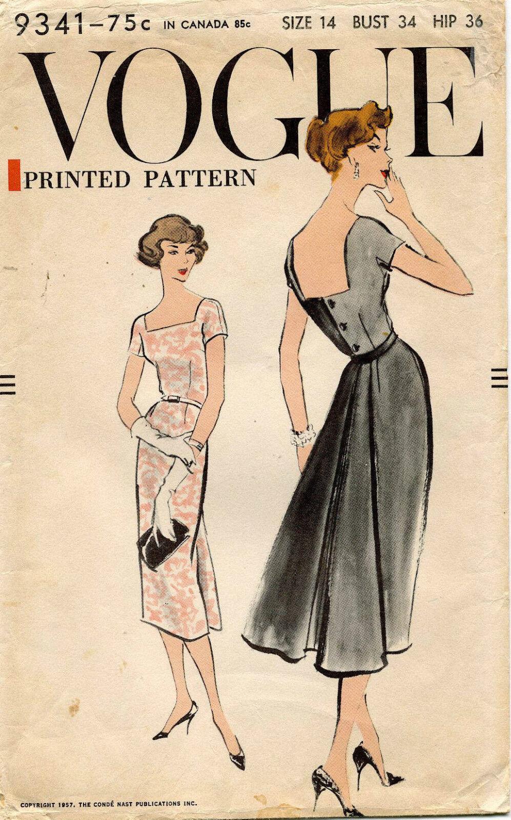 594ms Vtg Vogue Misses' Kleid Muster 9341 Größe 14