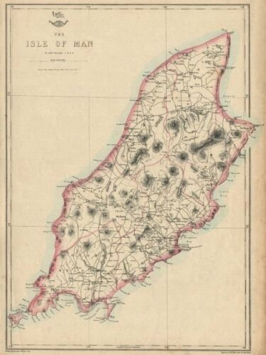/'The Isle of Man/' showing Sheadings WELLER 1863 old antique map plan chart