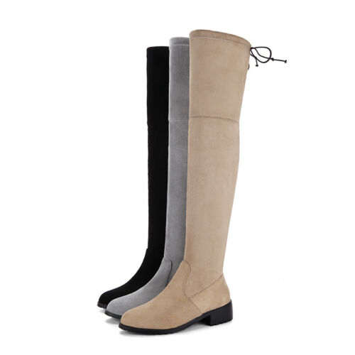 Details about  /Size 32-50 Women/'s Round Toe Chunky Heel Pull On Over The Knee High Thigh Boots