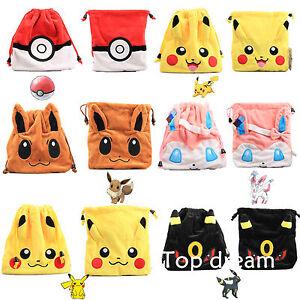 d3c312de0832 Image is loading Pokemon-Pikachu-Eevee-Umbreon-Sylveon-Pokeball-Drawstring- Bag-
