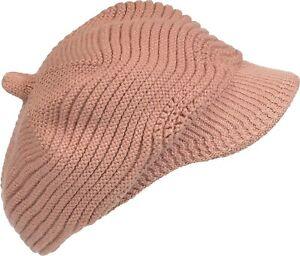 6b26ef22ac6 Women s Brim Beanie Angora Blend Knitted Hat Lined Cap Thick Blush ...