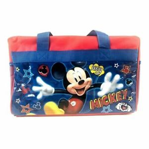 Disney-Mickey-Mouse-600D-Polyester-Blue-amp-Red-Duffle-Bag-PVC-with-Side-Panels