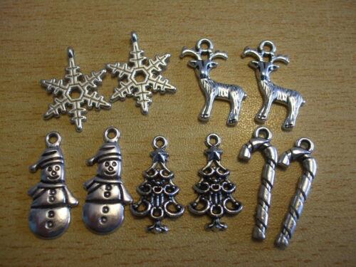 MINI XMAS CHARM MIX 10 x premium mixed pendant christmas PAIRS earrings A69 UK