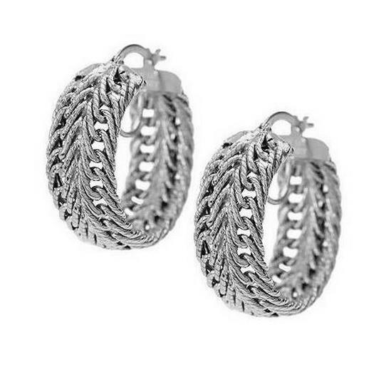 4.6gr Herringbone Intricate Textured Woven Wheat Hoop Earrings 14K White gold 1