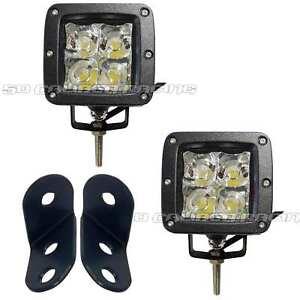 "3/"" LED Pod Lights With Bolt On A-Pillar Mount Brackets Polaris General 1000 UTV"