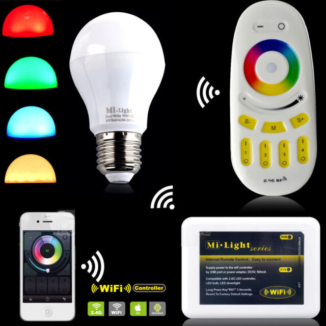 Milight 2.4G Wireless RGBW W/WW E27 9W LED Light Dimmable Bulb Lamp