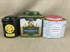 3 Tea Caddy Tin Storage Jars Harrods Mariage Freres Fortnum & Mason Empty