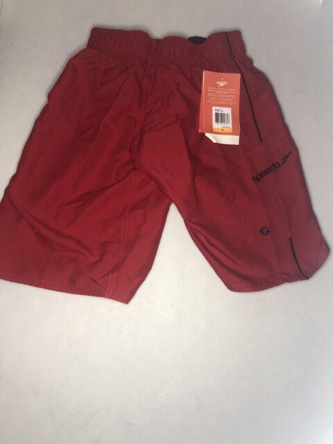 SPEEDO BOYS' SWIM SHORTS, SIZE SMALL 4, RED,  747087-685