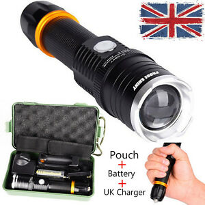 8000LM XM-L T6 LED Adjustable Rechargeable Tactical Flashlight Torch Light Lamp