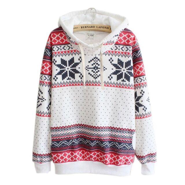 Women Christmas Snow Hoodie Sweatshirt Jumper Sweater Hooded Pullover Pop