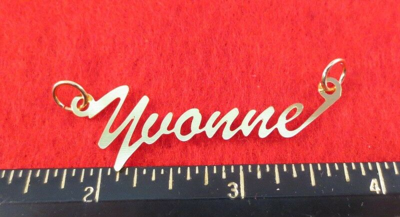 """14kt Gold Ep """"yvonne"""" Personalized Nameplate Word Charm Pendant 6411"""