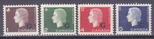 Canada-O46-O49-MNH-1963-QEII-G-Official-Overprinted-Full-Set-Very-Fine