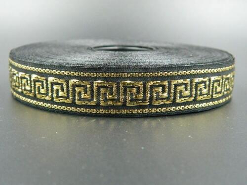 25 meters Jacquard Ribbon Trim *16mm width Greek Key*Black//Gold*