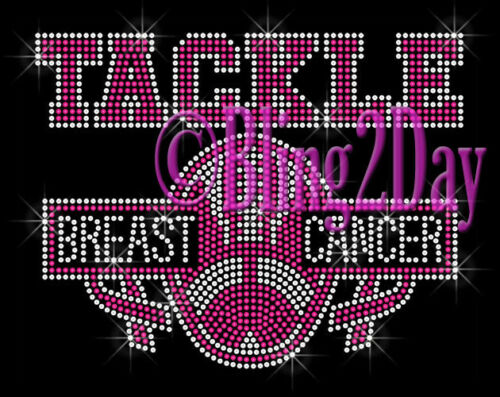 Pink Football Iron on Rhinestone Transfer Hot Fix Bling Tackle Breast Cancer