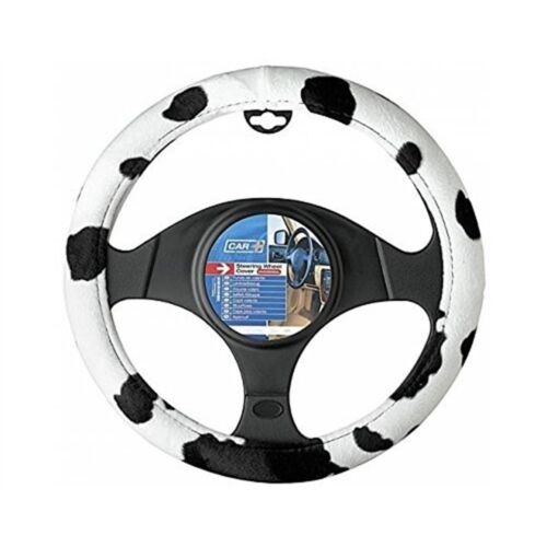 Sumex Cow2021cow Style Steering Wheel Cover Universal Velvet Cow Black And