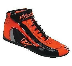 Velocita-O11-Safety-Driving-Racing-Shoes-SFI-Leather-Nomex-Flo-Orange-Size-11