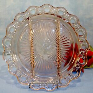 Pink-Depression-Glass-Old-Colony-Open-Lace-3-Part-Relish-Tray-10-1-2-in