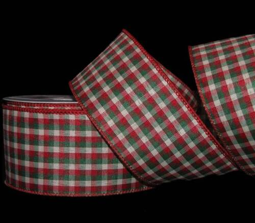 """10 Yards Christmas Red Green Country Primitive Plaid Gingham Wired Ribbon 2 1//2/"""""""