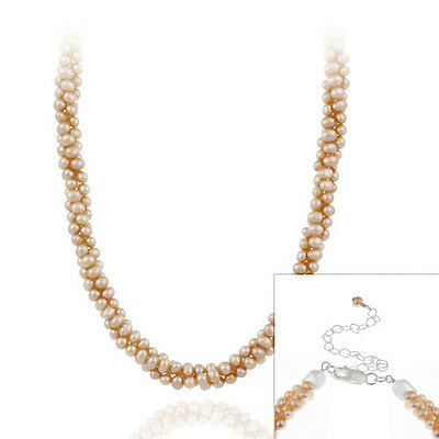 925 Silver Freshwater Cultered Peach Pearl Necklace