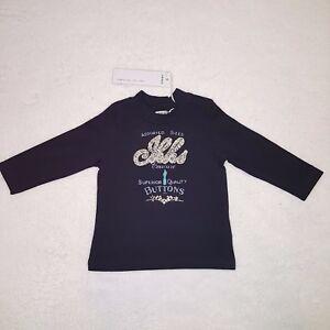 782632dd18fe6 Chargement de l image en cours IKKS-t-shirt-bebe-fille -marine-manches-longues-