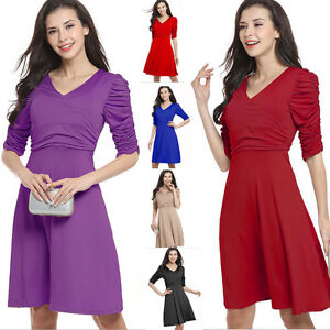 Womens-V-Neck-Skater-Solid-Pleated-Dress-Retro-Office-Work-Party-Club-Dance-8-16